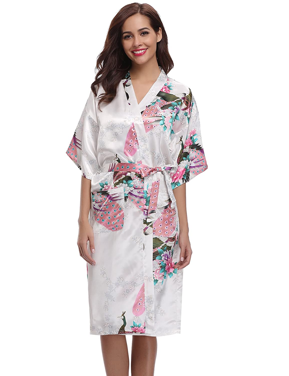 Aibrou Women's Kimono Robe Long Dressing Gown Long Peacock Nightdress Classic Satin Wedding Kimono Nightwear AM16062403