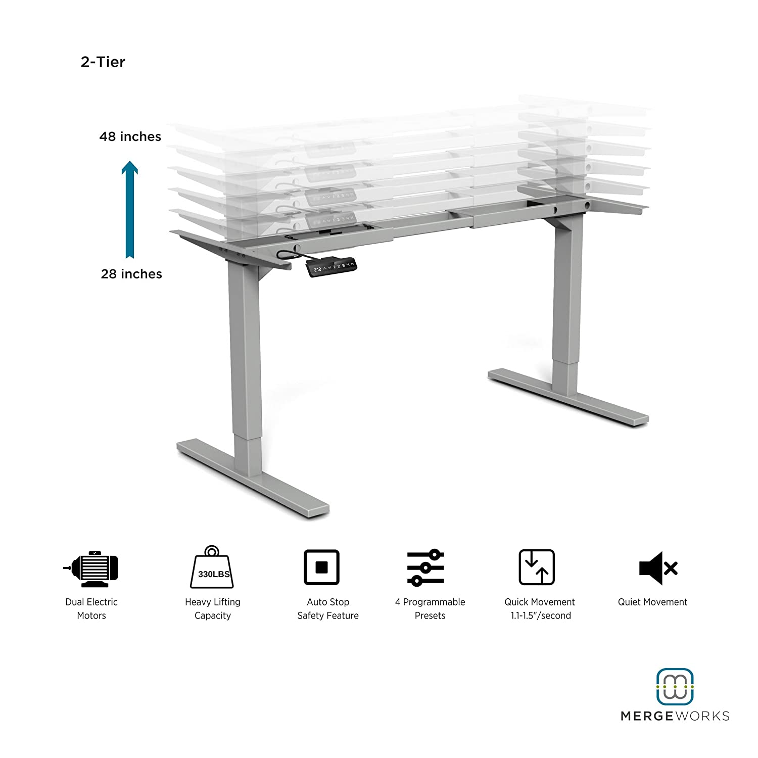 Amazon merge works highrise heavy duty electric height amazon merge works highrise heavy duty electric height adjustable steel frame base for ergonomic sit to stand deskexpanded height width adjustment watchthetrailerfo
