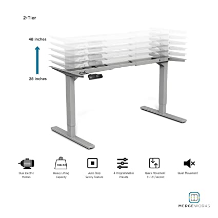 Amazoncom Merge Works HighRise Heavy Duty Electric Height - Electrically driven adjustable table legs
