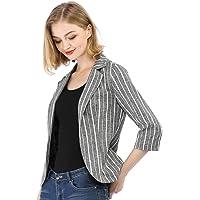 Allegra K Women's Striped 3/4 Sleeves Open Front Notched Lapel Blazer