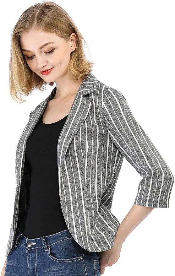 /¾ Sleeve Jacket with Notched Collar /& Single Button Black 10 Petite AmeriMark Womens Blazer