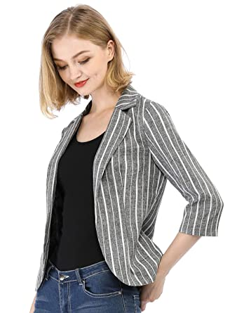 fc417f1d1f1 Allegra K Women s Striped 3 4 Sleeves Open Front Notched Lapel Blazer L  Black