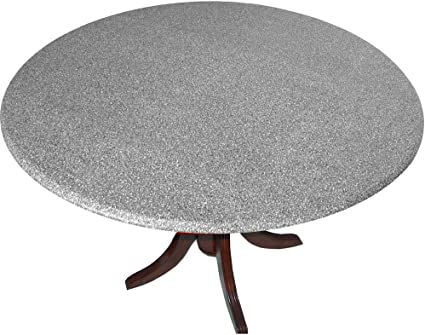 Amazon Com Table Cloth Round 36 To 48 Elastic Edge Fitted Vinyl Table Cover Polished Granite Garden Outdoor
