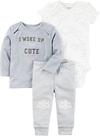 8beab9956 Amazon.com: Carter's Baby Boys' I Woke up Cute 3 Piece Set: Clothing