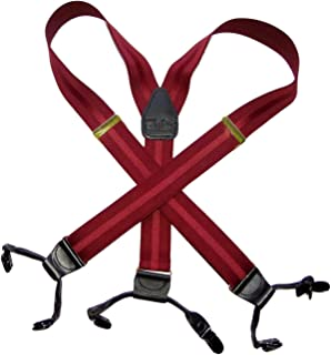 product image for Holdup Suspender Company Burgundy Jacquard Stripe Suspenders in Double-up Style Suspenders with Black Patented No-slip clips