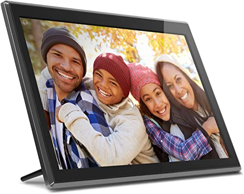 Aluratek 17.3 WiFi Digital Photo Frame with Touchscreen IPS LCD Display 16GB Built-in Memory, Photo Music Video AWS17F , Black