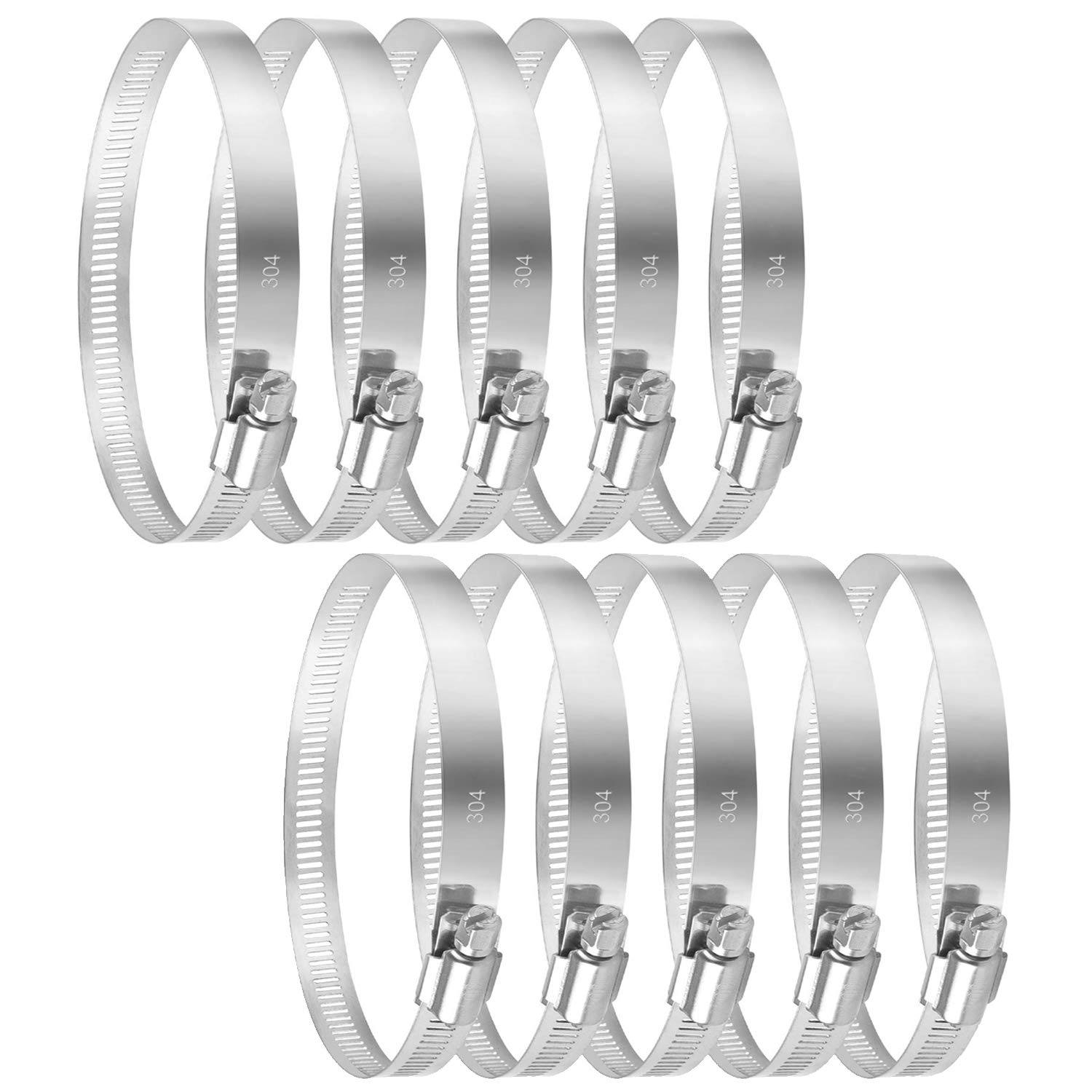 """Quickun 10Pcs Stainless Steel Hose Clamp Worm Gear Clamps Adjustable 2.8""""-2.75""""(46-70mm) Range, Fuel Line Clamp for Water Pipe, Hose Clips, Automative and Mechanical Application"""