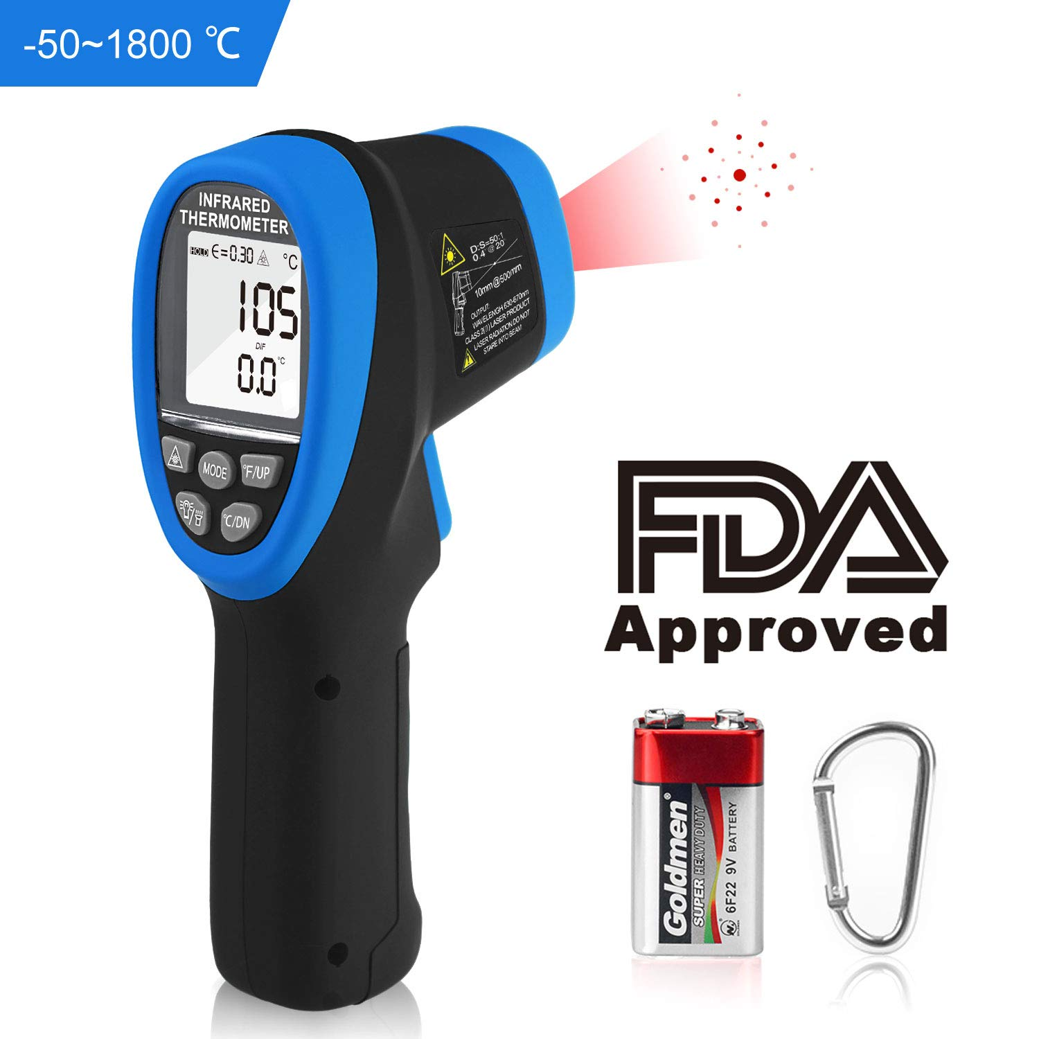 HOLDPEAK1800 infrared thermometer digital laser pyrometer lnfrared  thermometer high temperature gun -58℉~3272℉,Non Contact IR Thermometer with