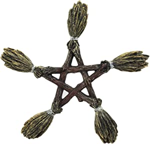 Ebros Witchcraft and Wiccan Broomsticks Pentagram Wall Decor Hanging Plaque Figurine Wicca Pentacle Sculpture Symbol Of 5 Elements Of The Universe As Halloween Prop or Gift Ideas For Occultism Pagan