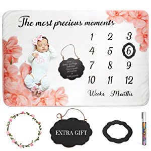 """AMIS BG Baby Monthly Milestone Blanket Girl Photo Prop Newborn - Fleece Large 60""""x40"""" Milestone Chalkboard Sign, Marker and Frame Included, Photography Background Baby Shower Gift"""