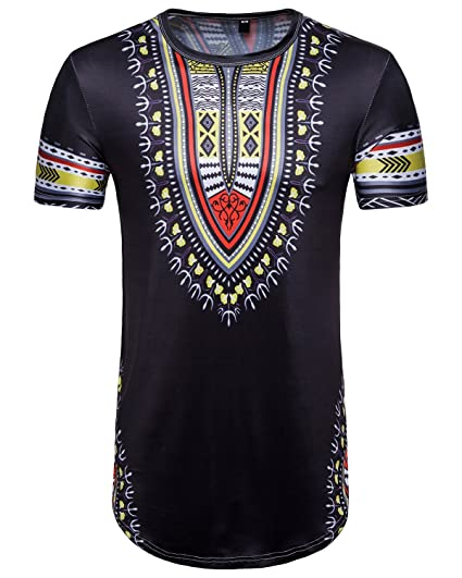 fb19d6d51 Sanatty Dashiki Shirts Men Traditional Printed Summer Top Blouse Long T Shirts  Hip Hop (2XL