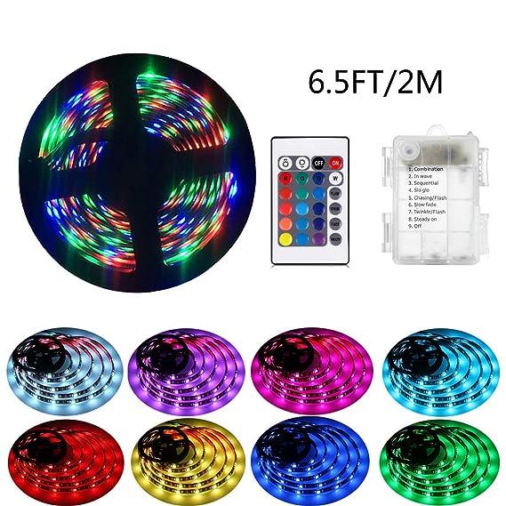 2m LED-Streifenlichter mit 24 Tasten Fernbedienung und Kasten, RGB 5050 Wasserdichtes Multicolor Lichtleiste für Weihnachten