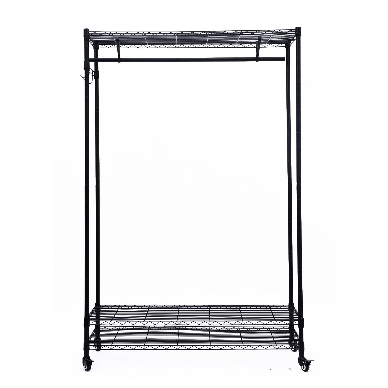 Amazon.com: HomCom 3 Tier Rolling Storage Closet Shelf Organizer: Home U0026  Kitchen