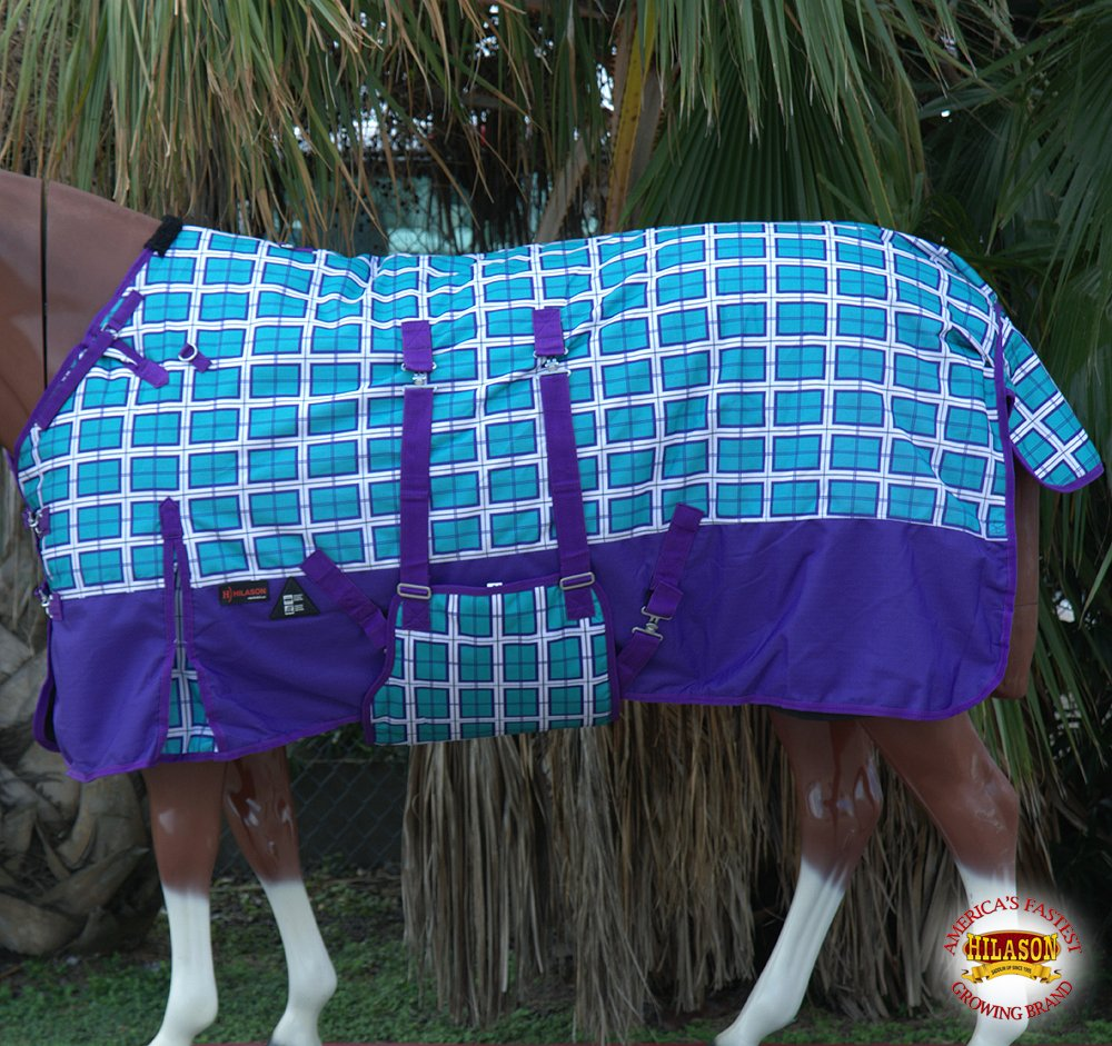 HILASON 72'' 1200D Winter Waterproof Horse Blanket Belly WRAP Plaid Turquoise