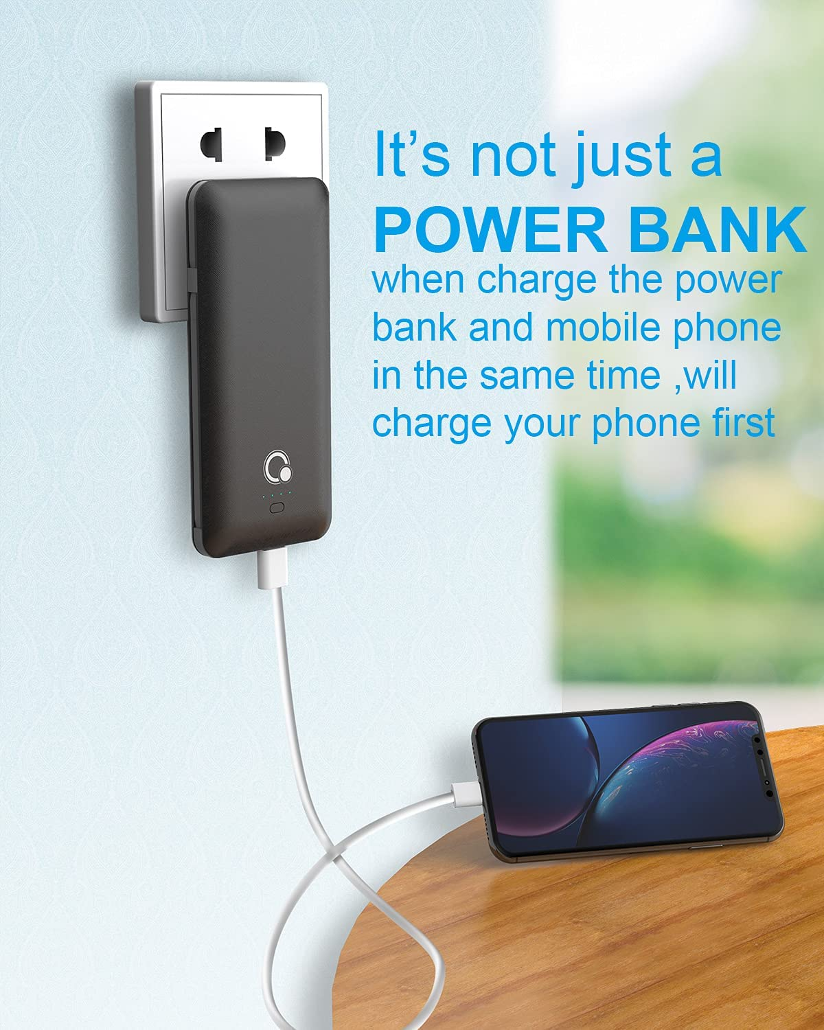10000mAh Portable Charger, Ultra Slim Power Bank,4 Output and Dual Input
