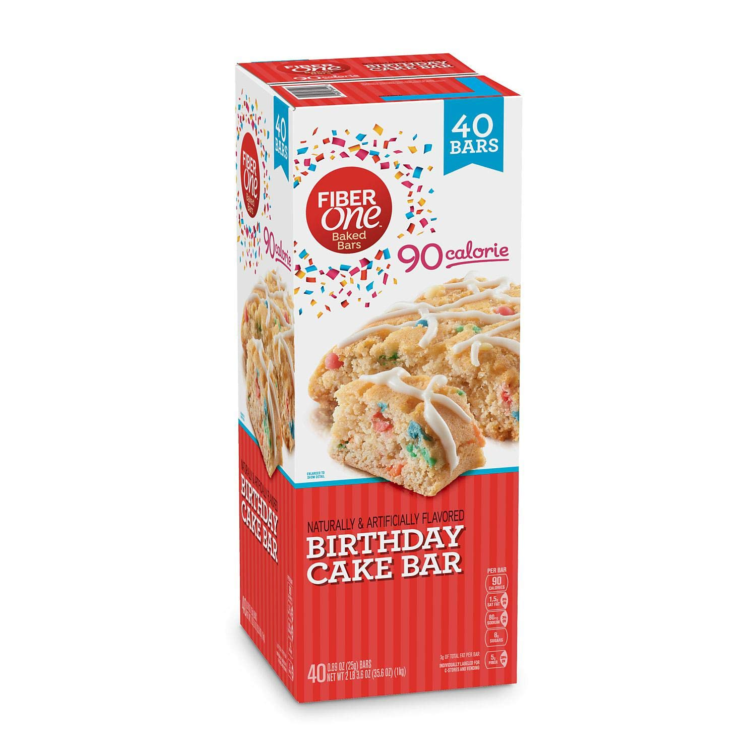 Fiber One 90 Calorie Birthday Cake Bar ~ 40 Count by Fiber One