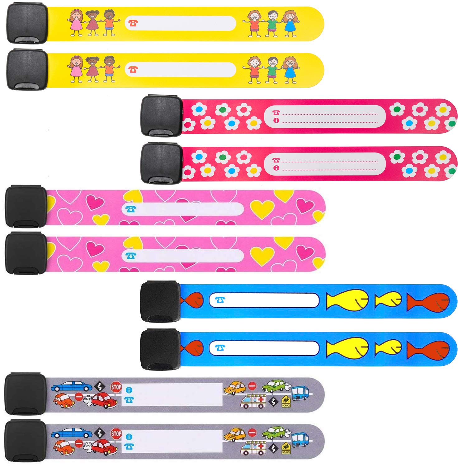 10 Pack Kids Safety Bracelet ID Wristband Emergency Name Bracelets for Children, Wrist Name Bands Safety ID Armband Strap SOS Bracelets for Boys Girls Toddlers, Waterproof Reusable Labeling. Junboys