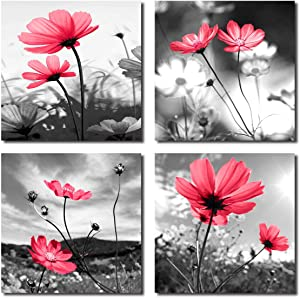HLJ Arts Modern Salon Theme Black and White Peacock Blue Vase Flower Abstract Painting Still Life Canvas Wall Art for Home Decor 12x12inches 4pcs/set (Red, 12x12inchesx4pcs (30x30cmx4pcs))