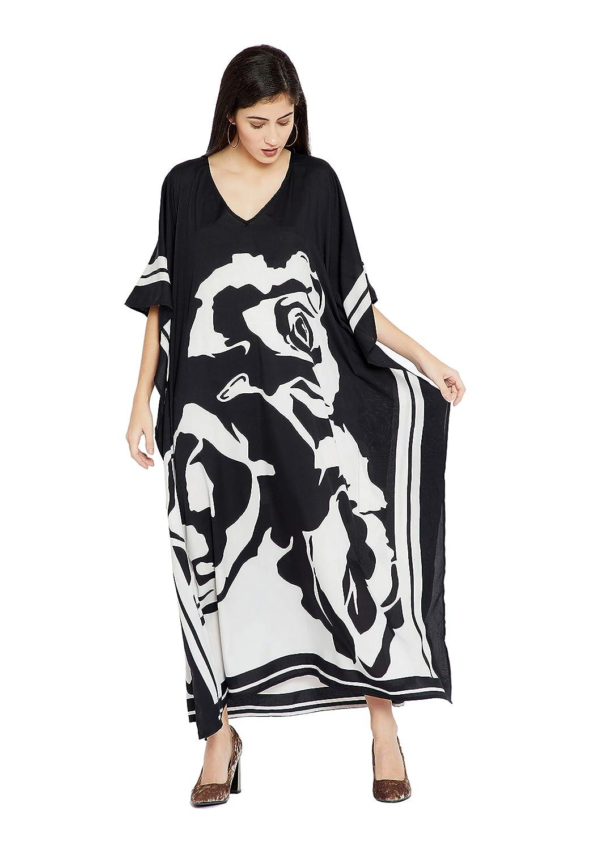 Goood Times Black & White Floral Long Kaftan Kimono Maxi Dress Plus Size  Caftan Gown Nightdress Kimono Women