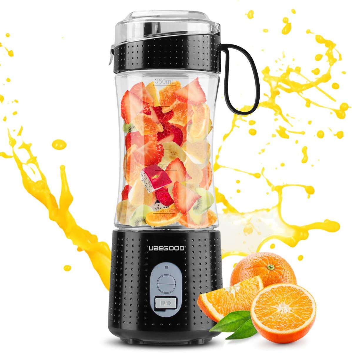 Portable Blender, UBEGOOD Personal Size Blenders Moothies and Shakes, USB Rchargeable Fruit Mixer Machine, Small Mini Juicer Cup for Home/Travel, 13oz (Black)