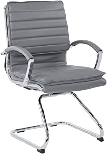 Office Star Faux Leather Guest Chair with Loop Arms and Chrome Sled Base, Charcoal