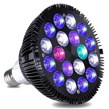 KINGBO 18 W LED Acuario Luz LED de Espectro Total Crecer Bombilla con UV para Arrecife de Coral Crecer Acuario y Crecimiento de la Planta: Amazon.es: ...