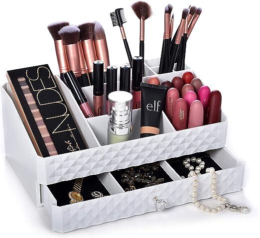 Dawoo Caja de maquillaje blanco caja de cosméticos ...