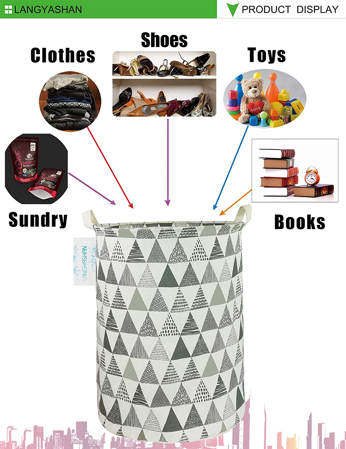 REC Grey Point Clothes,Baby Nursery LANGYASHAN Storage Bin,Canvas Fabric Collapsible Organizer Basket for Laundry Hamper,Toy Bins,Gift Baskets Bedroom
