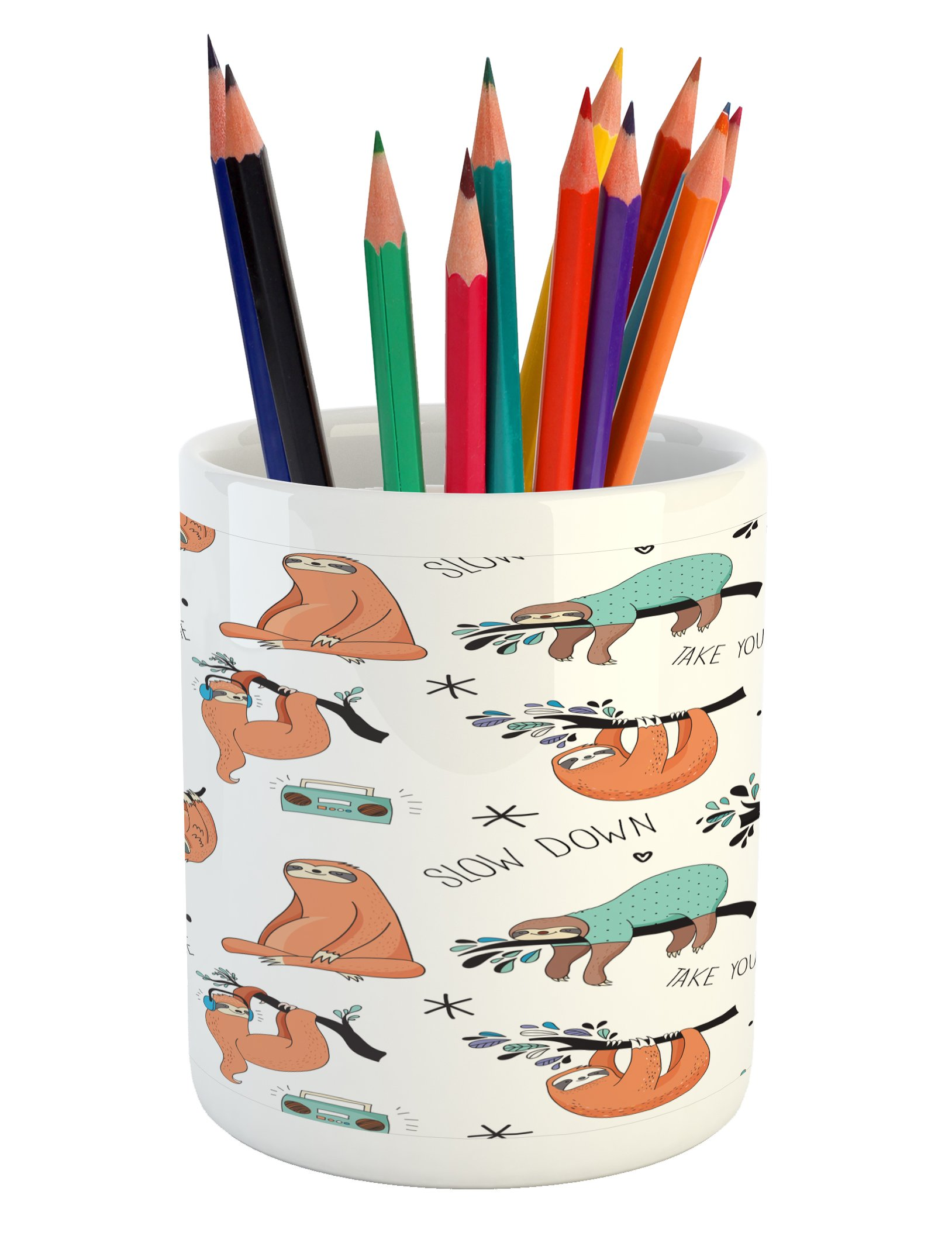 Ambesonne Sloth Pencil Pen Holder, Pattern with Cute Hand Drawn Sloths on Branches Laziness Mood Quotes Fun, Printed Ceramic Pencil Pen Holder for Desk Office Accessory, Orange Pale Blue Black