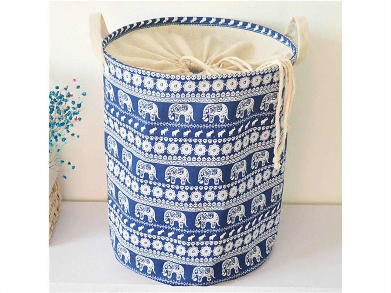 Gelaiken Lightweight Elephant Storage Basket Pattern Storage Bag Cotton Storage Box Sundries Storage Bucket(Navy Blue)