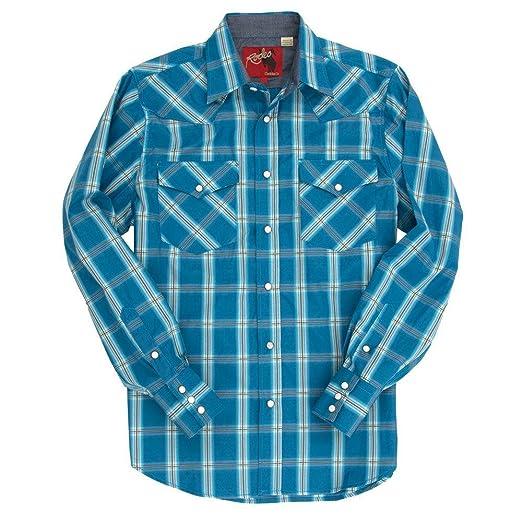 Rodeo Clothing Co. Mens Western Cowboy Pearl Snap Long Sleeve Plaid Shirt at Amazon Mens Clothing store:
