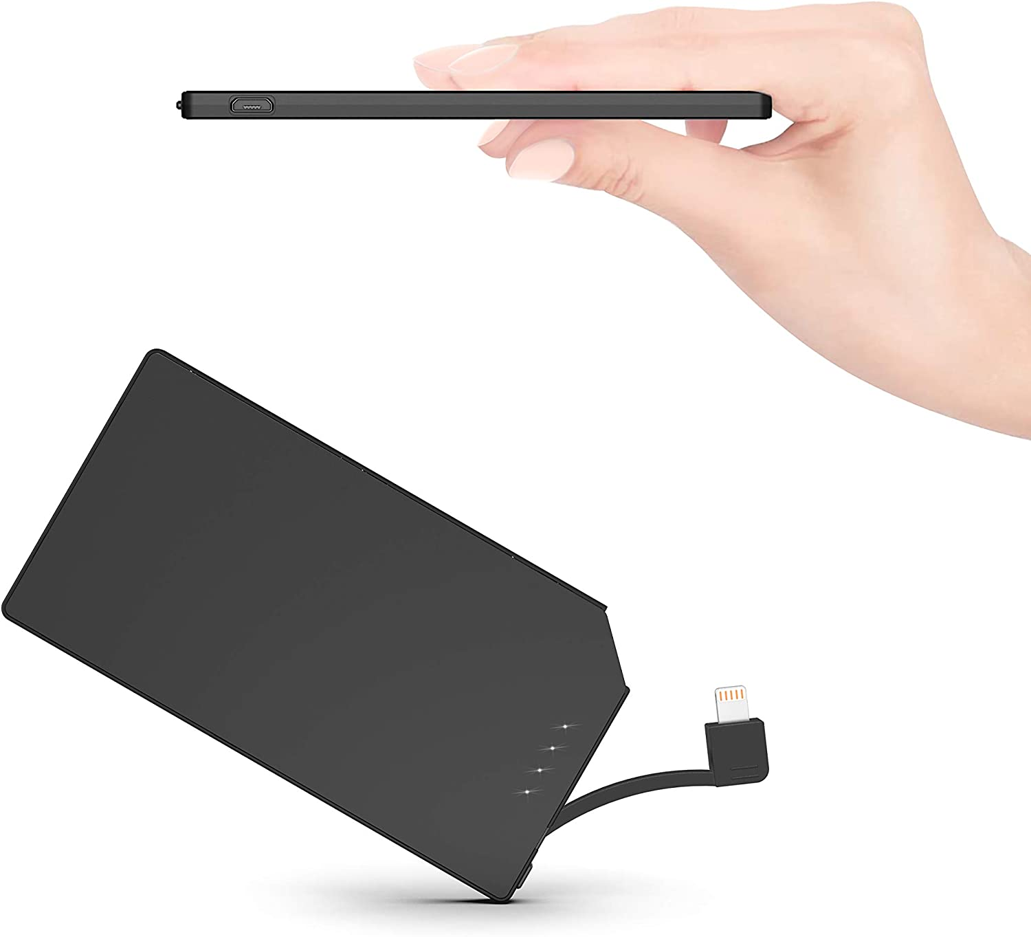 TNTOR Ultra Thin Power Bank Built in Cable Portable Power Charger 5000mAh Wallet & Pocket Size [only 6mm] Slim Compact External Battery Charger Only Suitable for iPhones