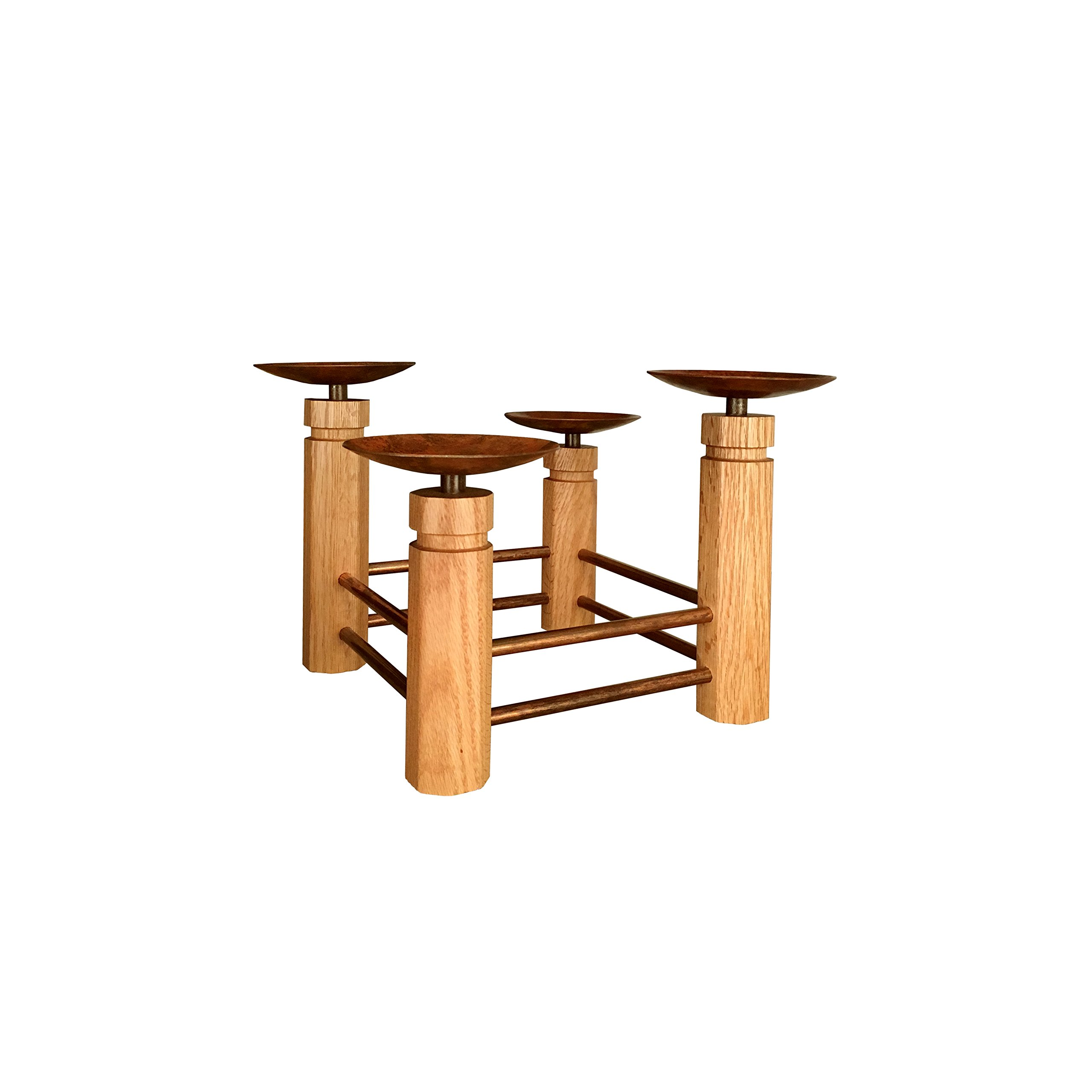Two-tier Corral Advent Stand. Red oak and patinated brass. Made in America. by Marklin Candle