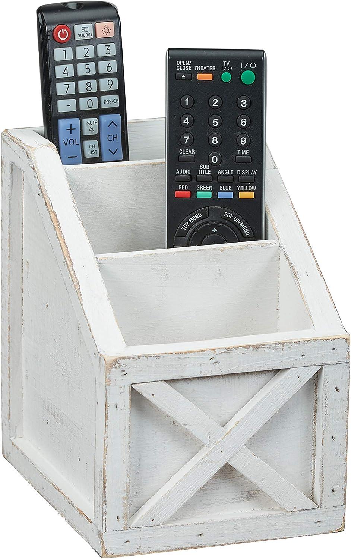 "Barnyard Designs Rustic Vintage Wooden Desk Organizer Remotes Caddy Tabletop Desktop Office Supplies Desk Accessories Holder, White 6.75"" x 6.5"" (White/White)"