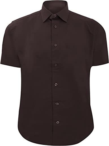 Russel Collection - Camisa ajustada de manga larga Cuidado facil Modelo Fitted hombre caballero - Trabajo/Boda/Fiesta (19.5/Marrón chocolate): Amazon.es: Ropa y accesorios