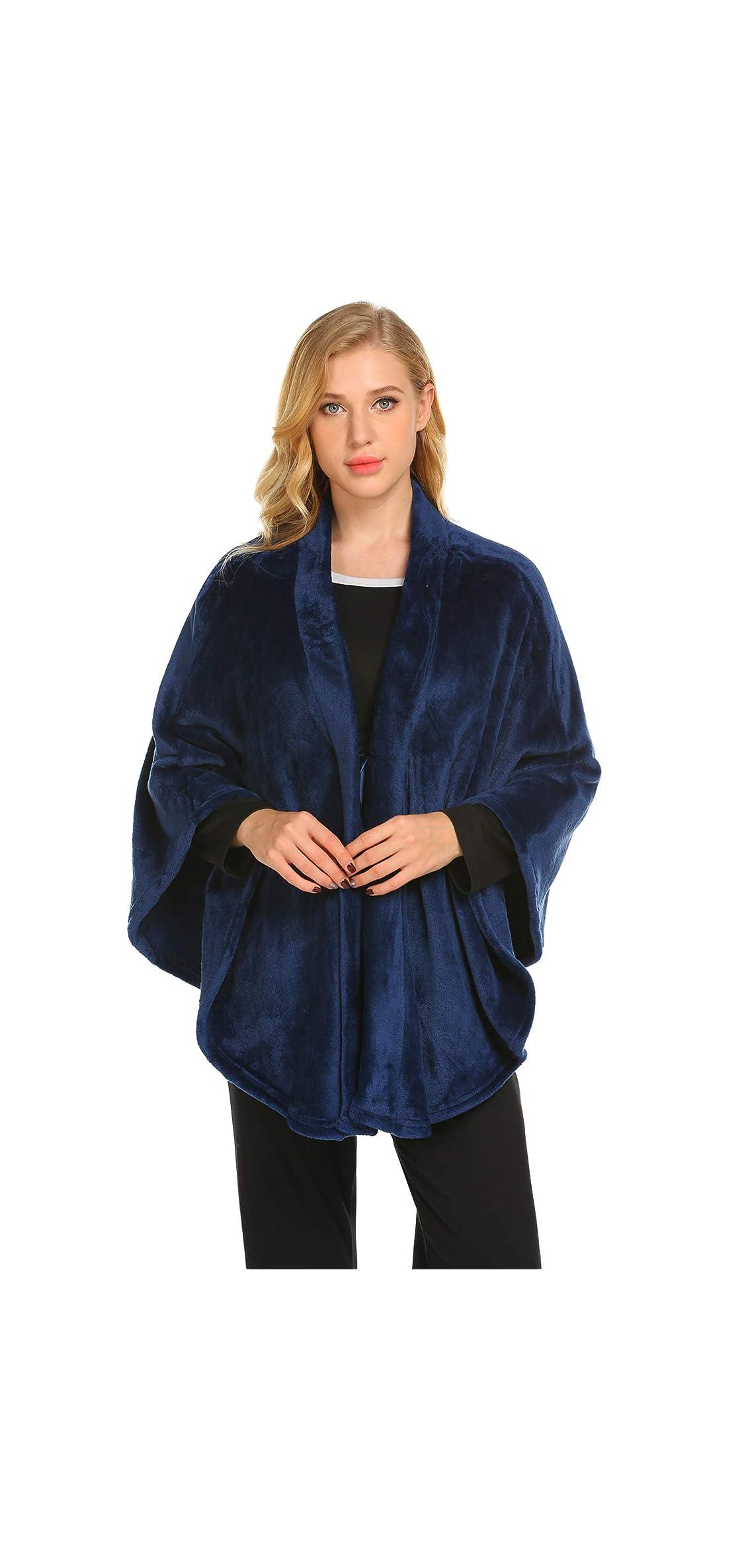 Flannel Faux Poncho For Women Lightweigh Blanket Warm Tv