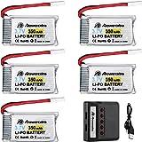 Powerextra 5pcs 3.7V 350mAh Lipo Battery for Hubsan X4 (H107C, H107D, H107L), Syma X11 X11C, TDR Spider,Holy Stone HS170,HS170C,F180W,F180C RC Quadcopter