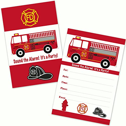 Fire Truck Birthday Party Invitations for Boys (20 Count with Envelopes)