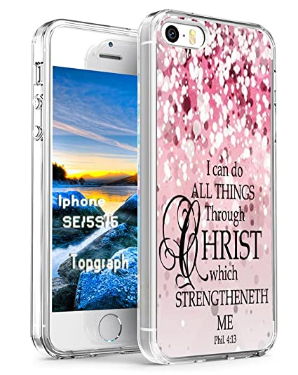 online store 0ac20 df246 Case for iPhone SE Bible Verse Protective - Topgraph [Exact Compatible Slim  Fit Clear with Design Full Coverage] Replacement Bumper for 5/5S/SE ...