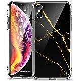 ESR iPhone Xs / X ケース ガラス背面 TPUバンパー 5.8インチ ネイキッド(黒大理石)