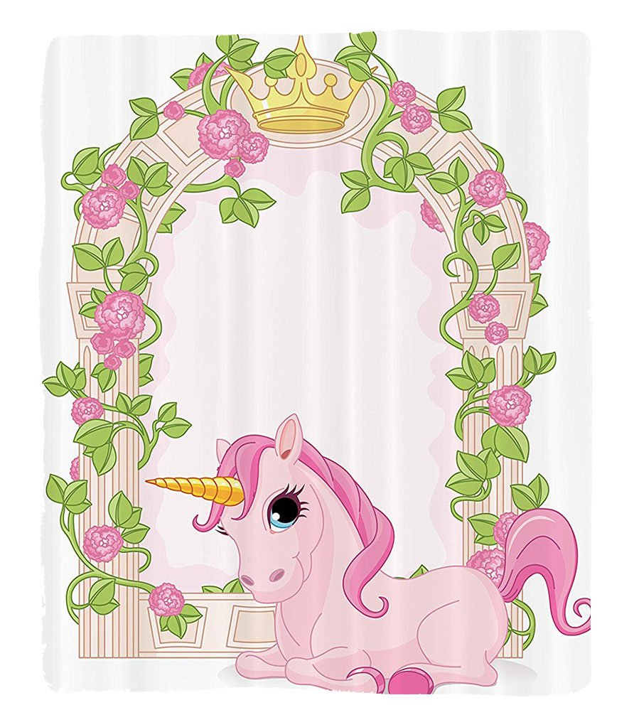 Chaoran 1 Fleece Blanket on Amazon Super Silky Soft All Season Super Plush Teen Girls Decor Collection Romantic Floral Arch Frame Roses Leaves with Unicorn Decorating Illustration Design Fabric Pink B by chaoran