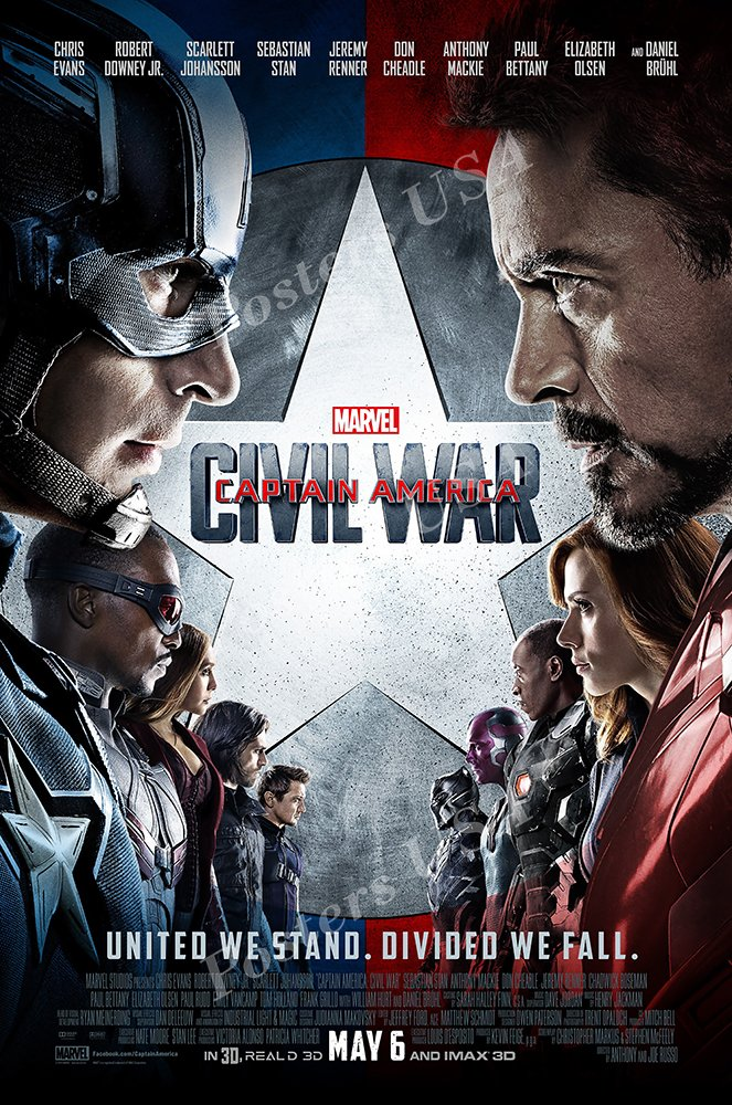 Posters USA Marvel Captain America Civil War Movie Poster GLOSSY FINISH - FIL259 (24'' x 36'' (61cm x 91.5cm))