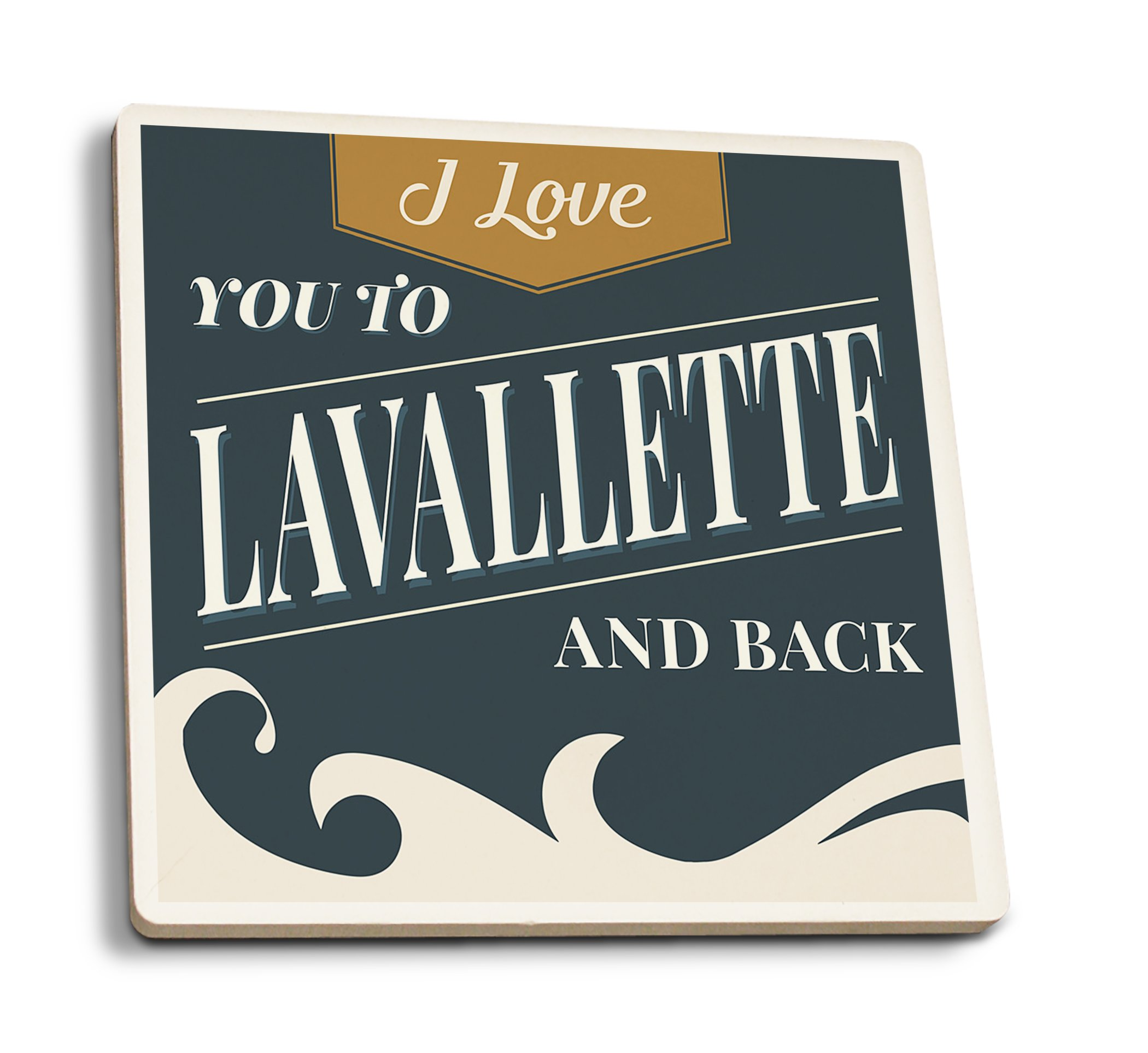 Love You to Lavallette, New Jersey and Back - Beach Sentiment - Dark Blue and Gold (Set of 4 Ceramic Coasters - Cork-Backed, Absorbent)