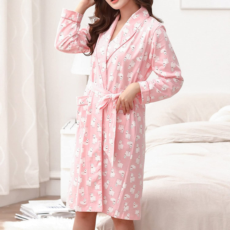 Ropa De Dormir 1395 B073B3LHHQ De Las Mujeres Rosa Kimono Algodón ...