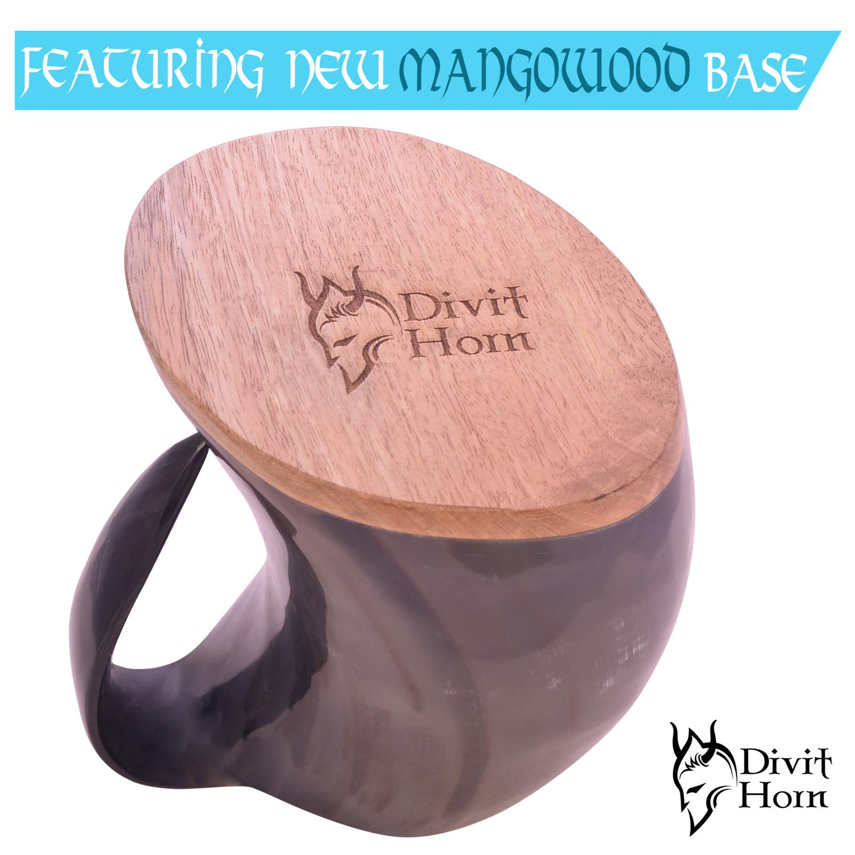 Divit Genuine Viking Drinking Horn Mug | Authentic Medieval Beer Horn Tankard | 24oz capacity | Highest quality horn Cup/Stein. (Original, Polished) by Divit Horn (Image #7)