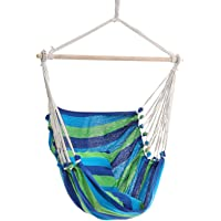 Garden Hammock Chair Hanging Rope Swing, Max 120kg Capacity, 2 Seat Cushions Included, Hanging Chair for Bedroom Living…