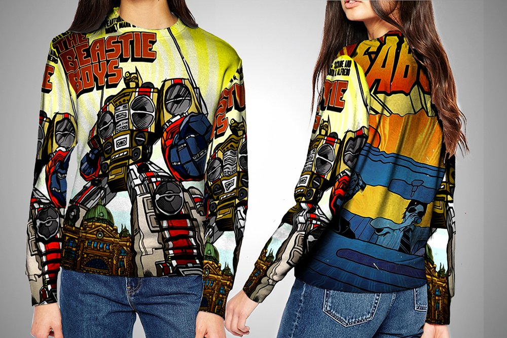 Sweater XXXLarge Beastie Boy American Rap Group Sabotage Album Cover Fullprint Woman Apparel Size S  XXXl