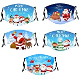 Christmas Face Bandanas Halloween Happy 5PCS Adults Reusable and Breathable Cotton Face Bandanas, with Pumpkin Halloween…