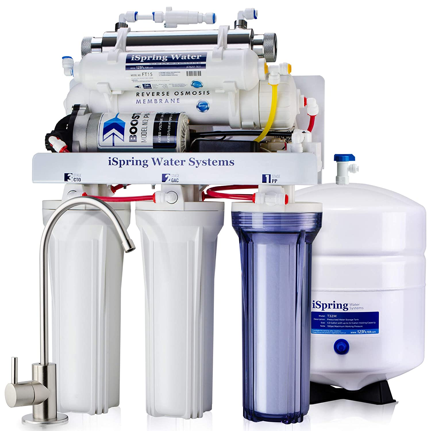 iSpring RCC1UP - 100GPD 6-Stage Reverse Osmosis features Real Booster Pump, 11w UV w/Flow Sensor Switch, and Clear Housing in 1st stage. 110V & 220V compatible