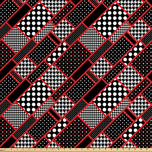 Ambesonne Red and Black Fabric by The Yard, Geometric Rectangle Frames Retro Patterns Polka Dots and Houndstooth, Decorative Fabric for Upholstery and Home Accents, Black White Scarlet -